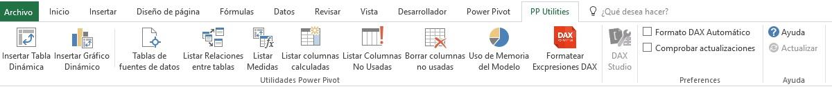 Pestaña PP Utilities en Excel