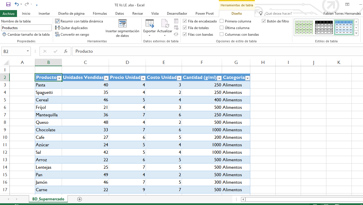 Tabla Estructurada Vs Lista de Datos en Microsoft Excel